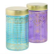 Large Glass Jaipur Storage Containers Set of 2