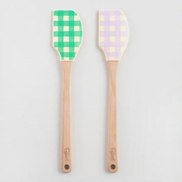 Green Gingham Silicone Spatulas Set of 2