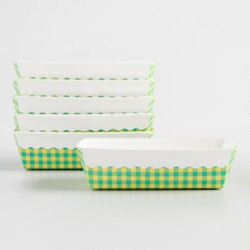 Mini Gingham Paper Loaf Pans 6 Count