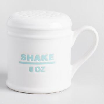 White Ceramic Flour and Sugar Shaker