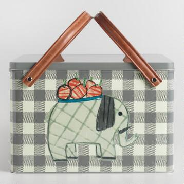 Gray Gingham Elephant Metal Picnic Basket