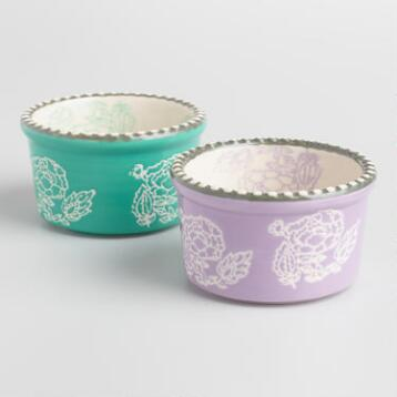 Philipa Floral Ceramic Ramekins Set of 2