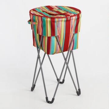 Coastal Stripe Insulated Cooler Tub with Stand