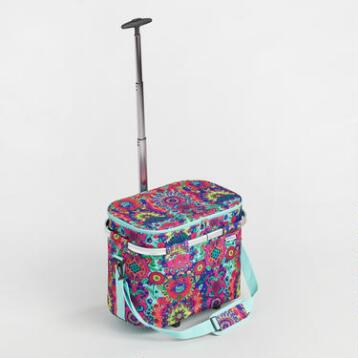 Coastal Stripe Insulated Rolling Trolley Tote Bag