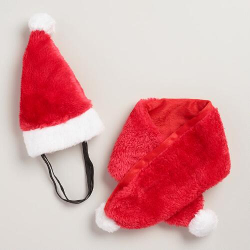 Santa Hat and Scarf Dog Costume 2 Piece