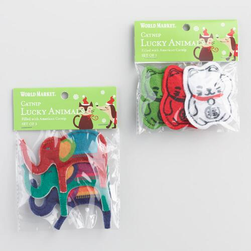 3 Piece Lucky Cat Toys with Catnip Set of 2