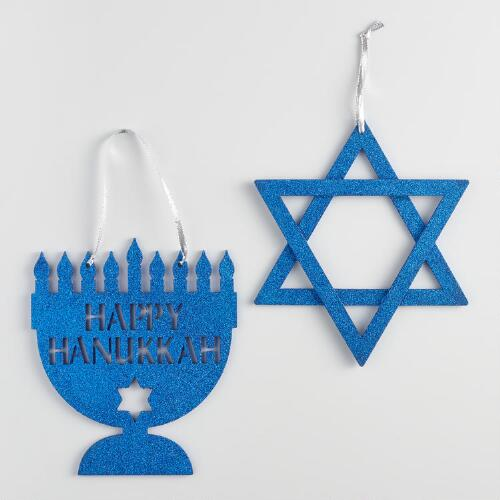 Glitter and Wood Hanukkah Decor Set of 2