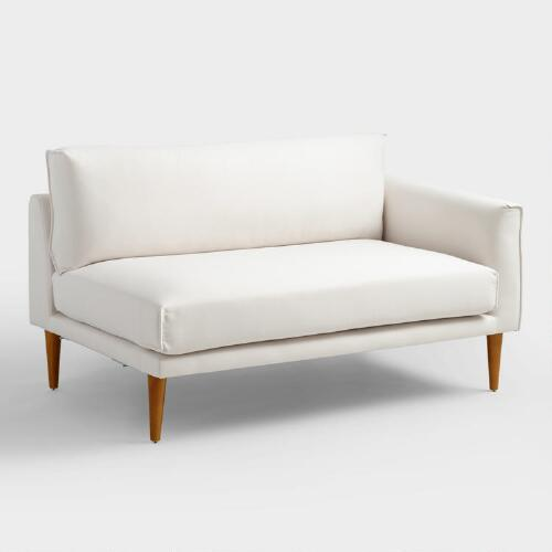 Ivory Nica Right Facing Sectional 2 Seat Sofa