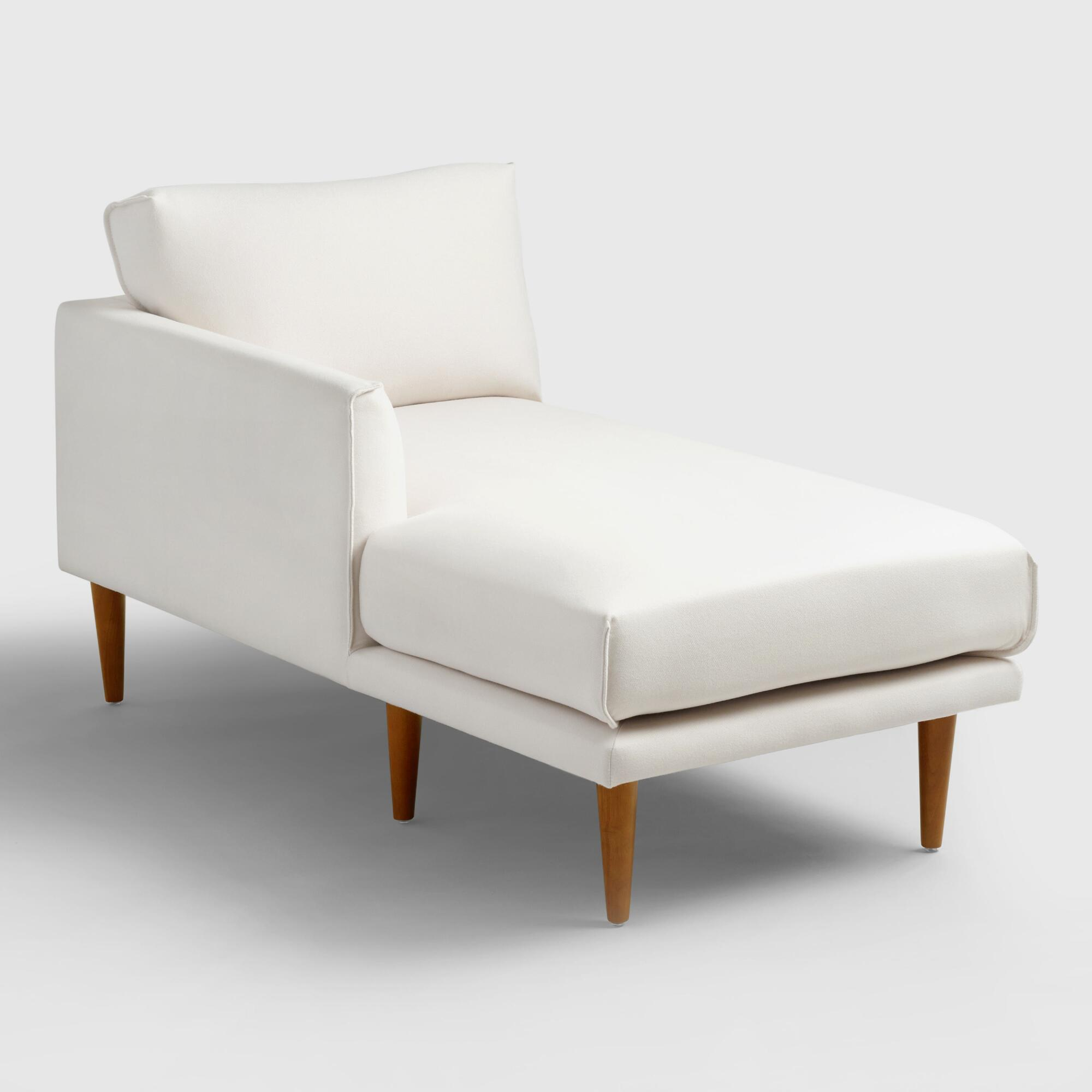 Ivory nica left arm facing chaise lounge world market for Armed chaise lounge