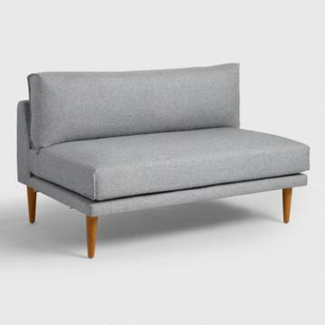 Gray Nica Sectional Armless 2 Seat Sofa
