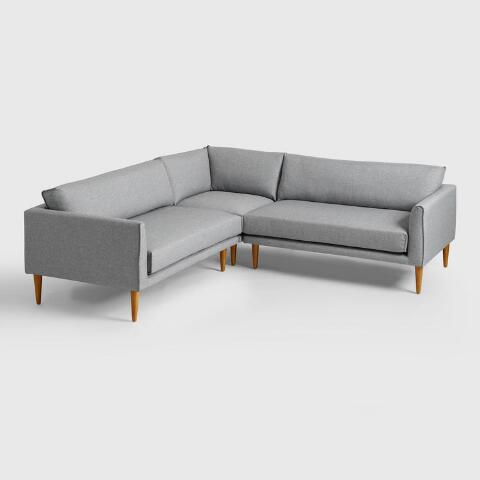 Gray Nica Right Arm Facing Sofa World Market