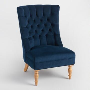 ink blue velvet juliana tufted accent chair chairs living room