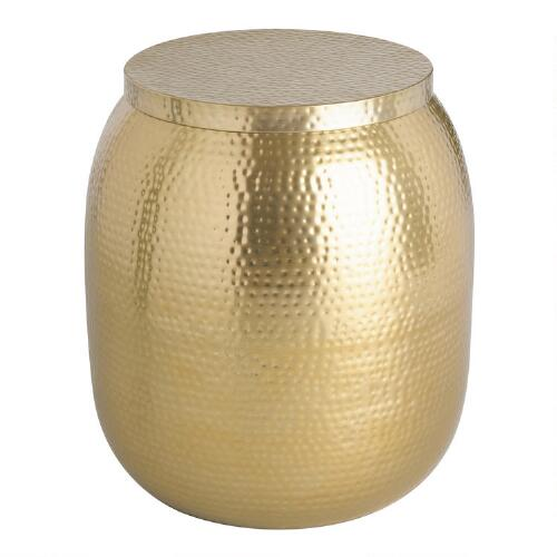 Gold Cala Hammered Drum Accent Table