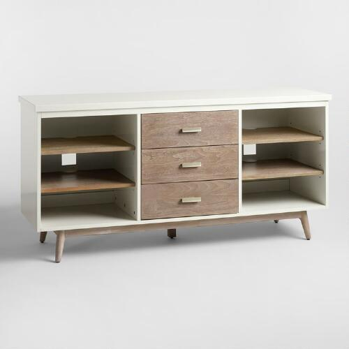 White Lacquer and Graywash Braelynn Storage Cabinet