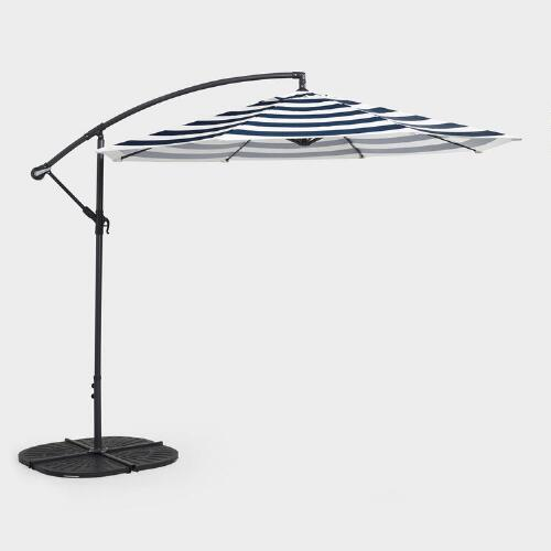 Blue Stripe Cantilever Umbrella And Weight Base Collection