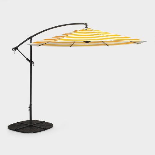 Yellow Stripe Cantilever Umbrella And Weight Base