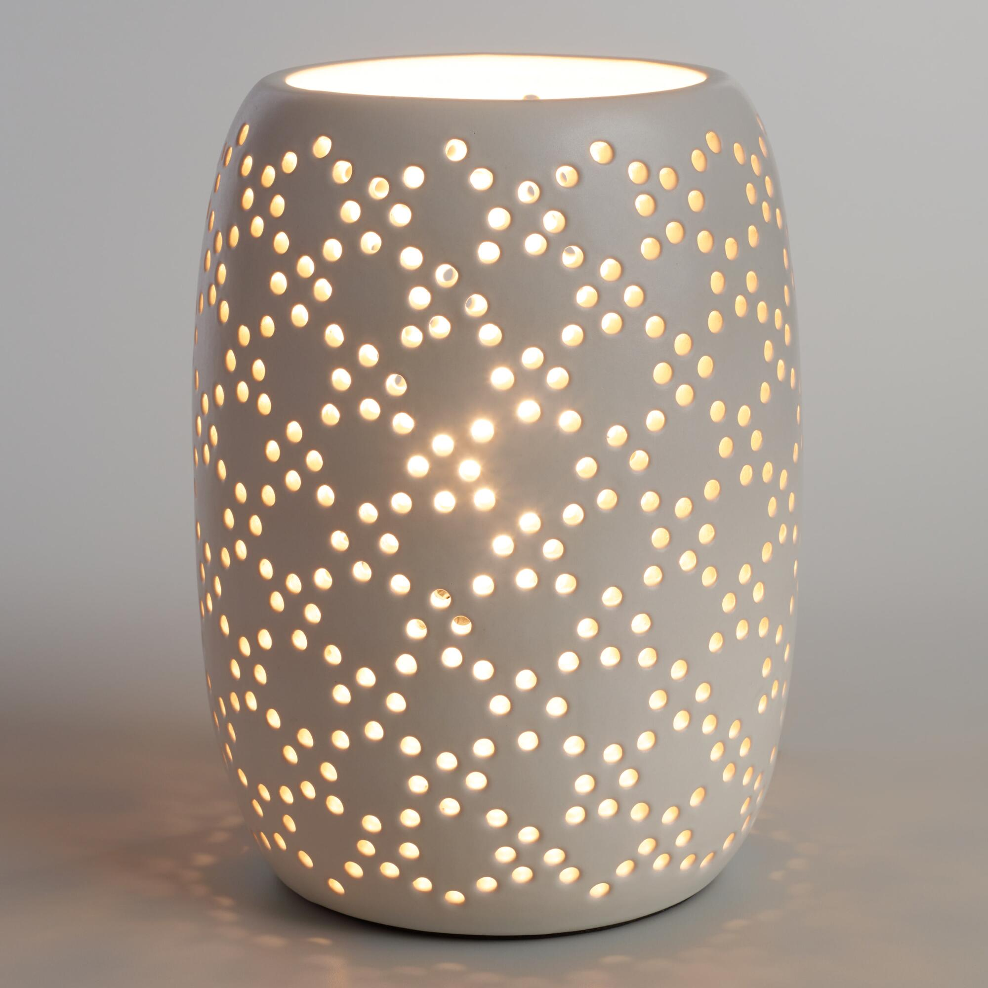 White Pierced Ceramic Table Lamp