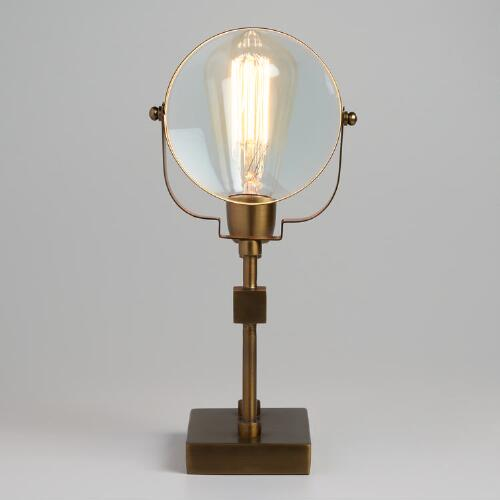 Antique Brass Magnifying Glass Everette Table Lamp