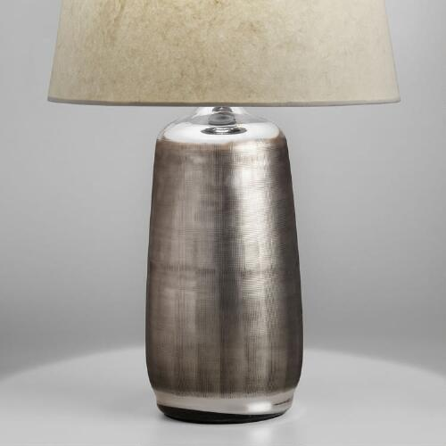 Antique Silver Etched Glass Zara Table Lamp Base