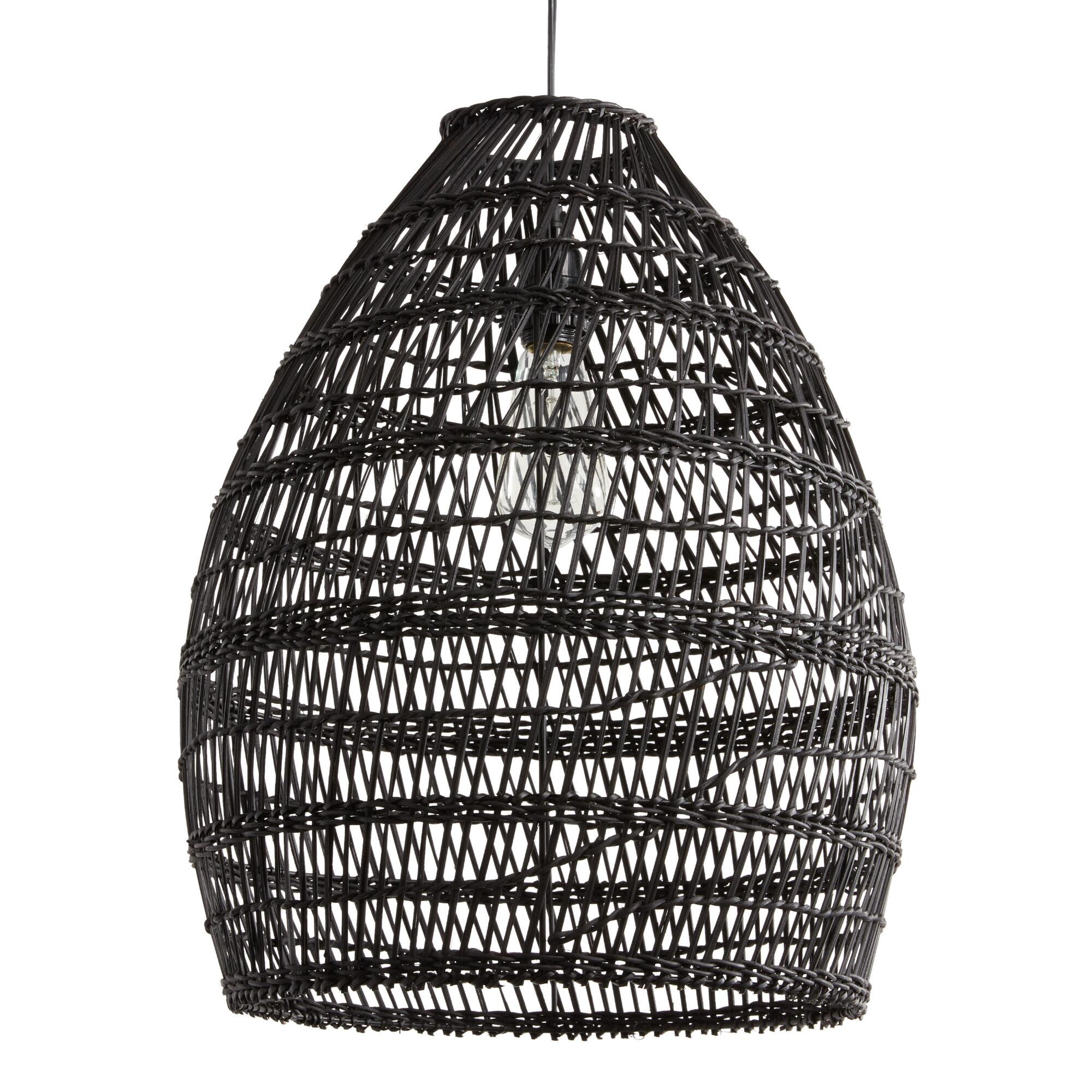 Wicker Outdoor Hanging Lights: Black Woven Bamboo Pendant Shade