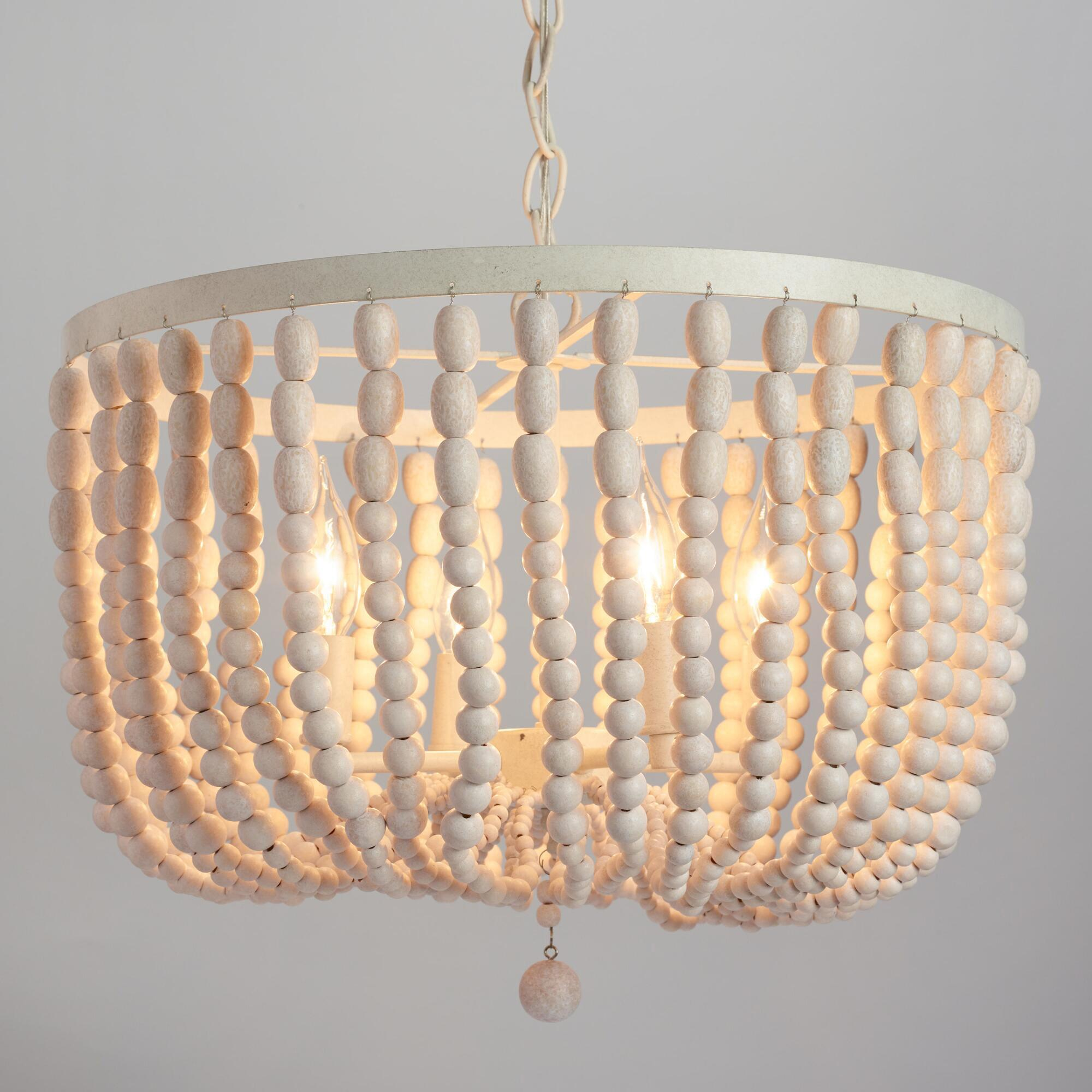 Antique whitewash wood bead chandelier world market - Chandelier glass beads ...