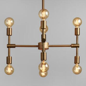 Antique Gold Modular 8 Bulb Chandelier