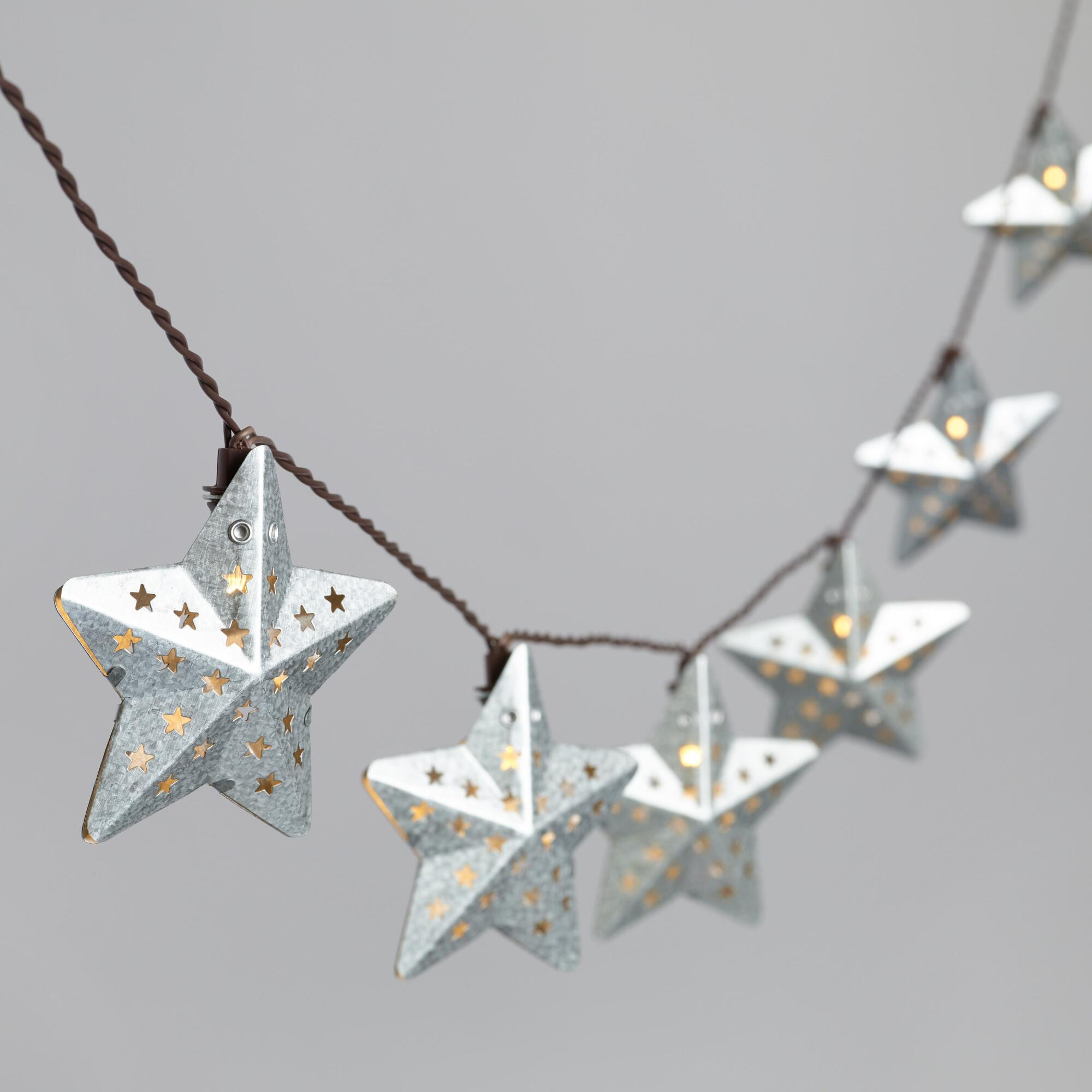 Galvanized Metal String Party Lights : Pierced Metal Star Solar LED 30 Bulb String Lights World Market