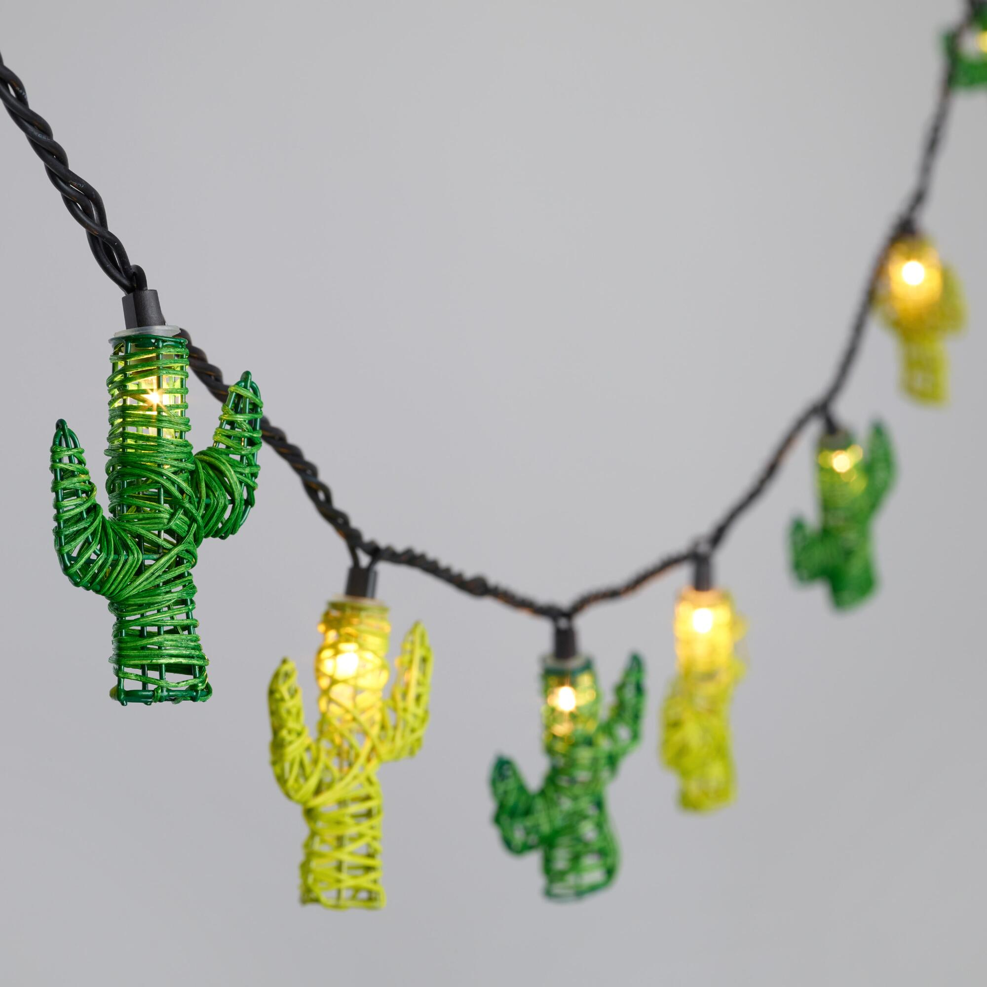 String Lights Next : Green and Yellow Rattan Cactus 10 Bulb String Lights World Market