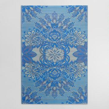 4'x6' Blue and Gray Esme Indoor Outdoor Rio Floor Mat