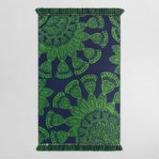 5'x8' Green Peacock Feather Woven Indoor Outdoor Rug