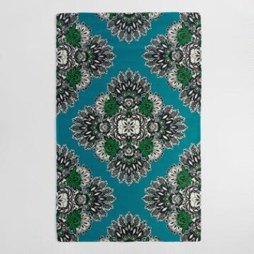 5'x8' Blue and Green Tapestry Esmeralda Indoor Outdoor Rug