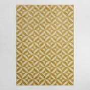 4.9'x6.9' Yellow and White Geo Flatweave Indoor Outdoor Rug