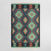 Multicolor Diamond Kilim Woven Darra Indoor Outdoor Rug
