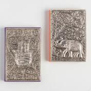 Large Embossed Metal Journals Set of 2
