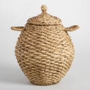 Natural Hyacinth Sophia Tote Basket with Lid