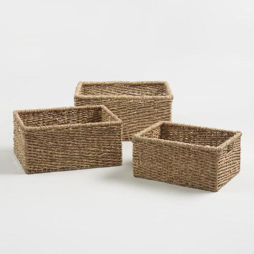 Natural Seagrass Rectangular Trista Baskets