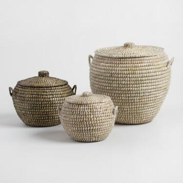Seagrass Penelope Tote Baskets with Lids