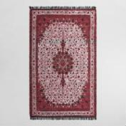 5'x8' Red Printed Recycled Silk Aisha Area Rug
