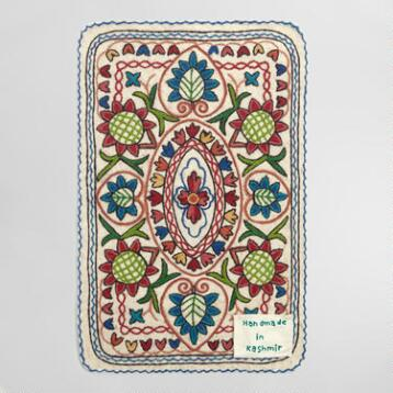 2'x3' White Kashmir Embroidered Wool Jaya Area Rug