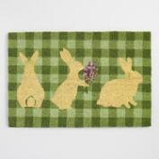 Green Plaid Easter Bunny Coir Doormat
