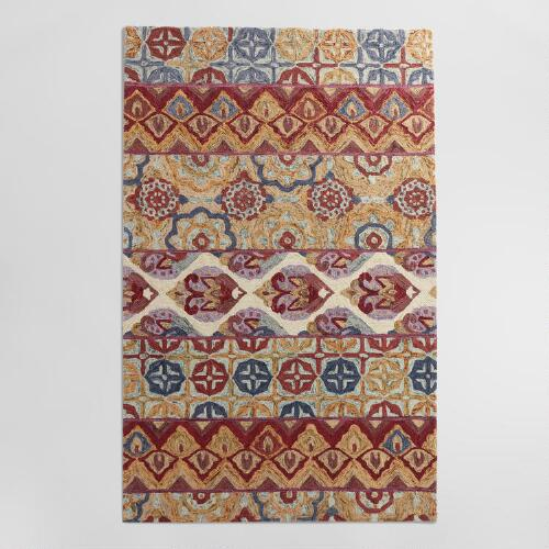 Jaipur Stripe Tufted Wool Area Rug