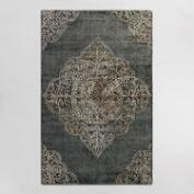 Charcoal Medallion Wool Kiara Area Rug
