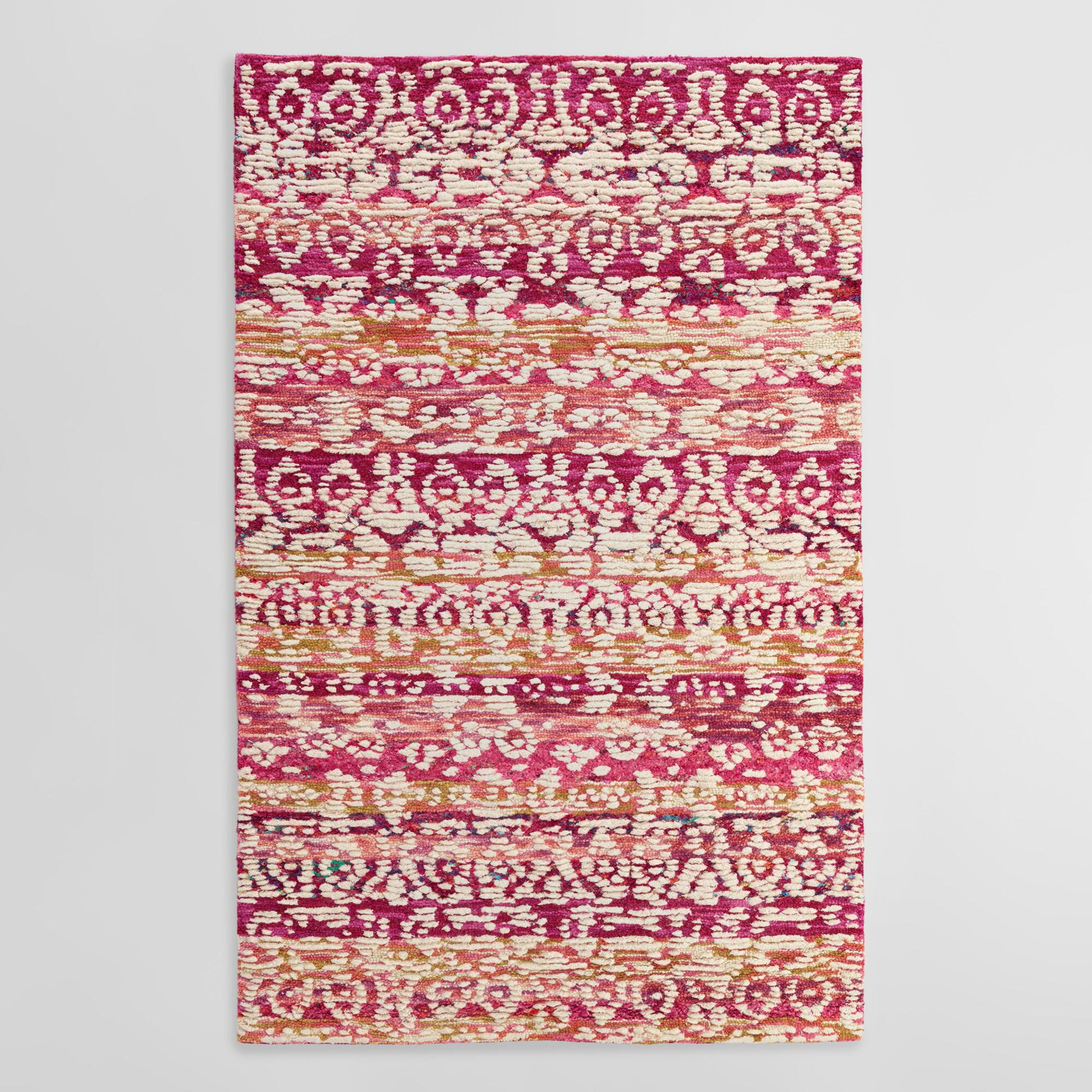 Pink And Ivory Tufted Wool Samara Area Rug World Market