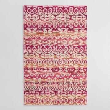 Pink and Ivory Tufted Wool Samara Area Rug