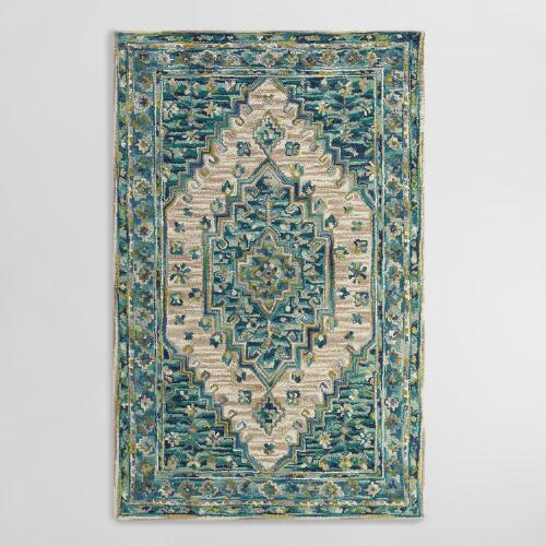 Blue Tufted Wool Zahra Caravan Area Rug World Market