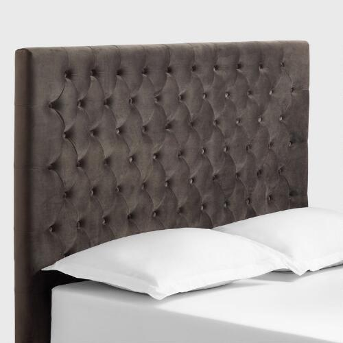 charcoal gray jaelyn tufted queen headboard world market. Black Bedroom Furniture Sets. Home Design Ideas