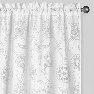 White Palampore Burnout Sheer Curtains Set of 2