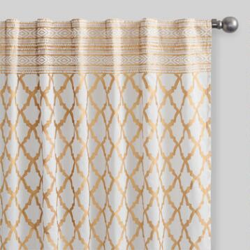 Gold Ogee Cotton Curtains Set of 2