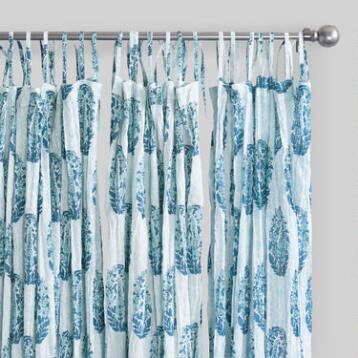 Blue Bhuti Sheer Crinkle Voile Cotton Curtains Set of 2