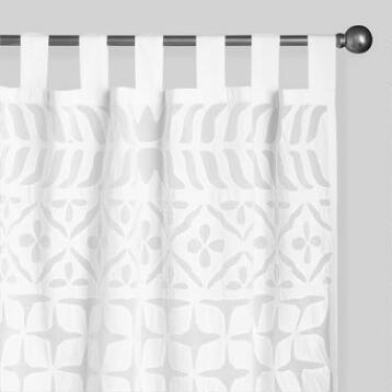 White Petal Cutwork Sheer Cotton Curtains Set of 2
